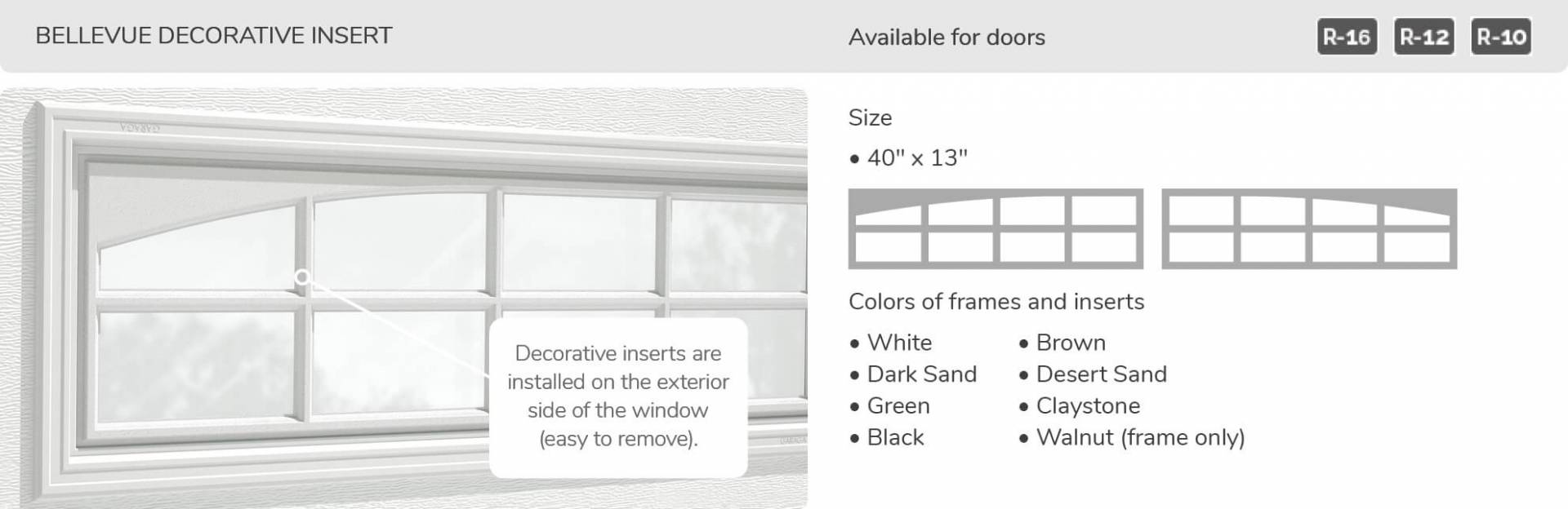 Bellevue Decorative Insert, 40' x 13', available for doors R-16, R-12 and R-10