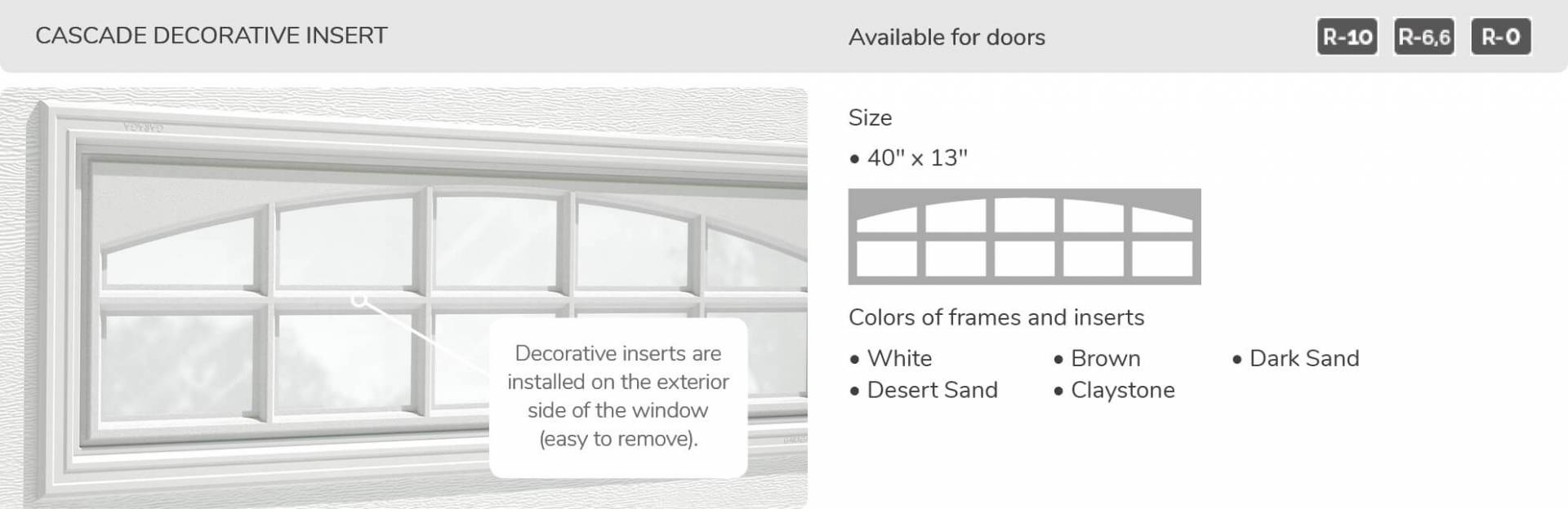 Cascade Decorative Insert, 40' x 13', available for doors R-10, R-6.6, R-0