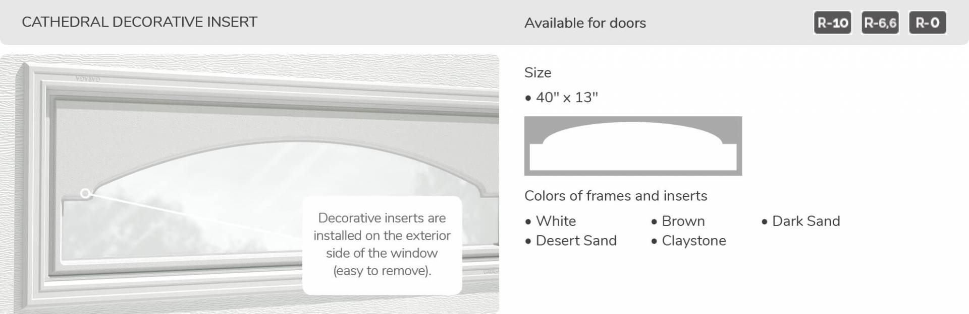 Cathedrale Decorative Insert, 40' x 13', available for doors R-10, R-6.6, R-0
