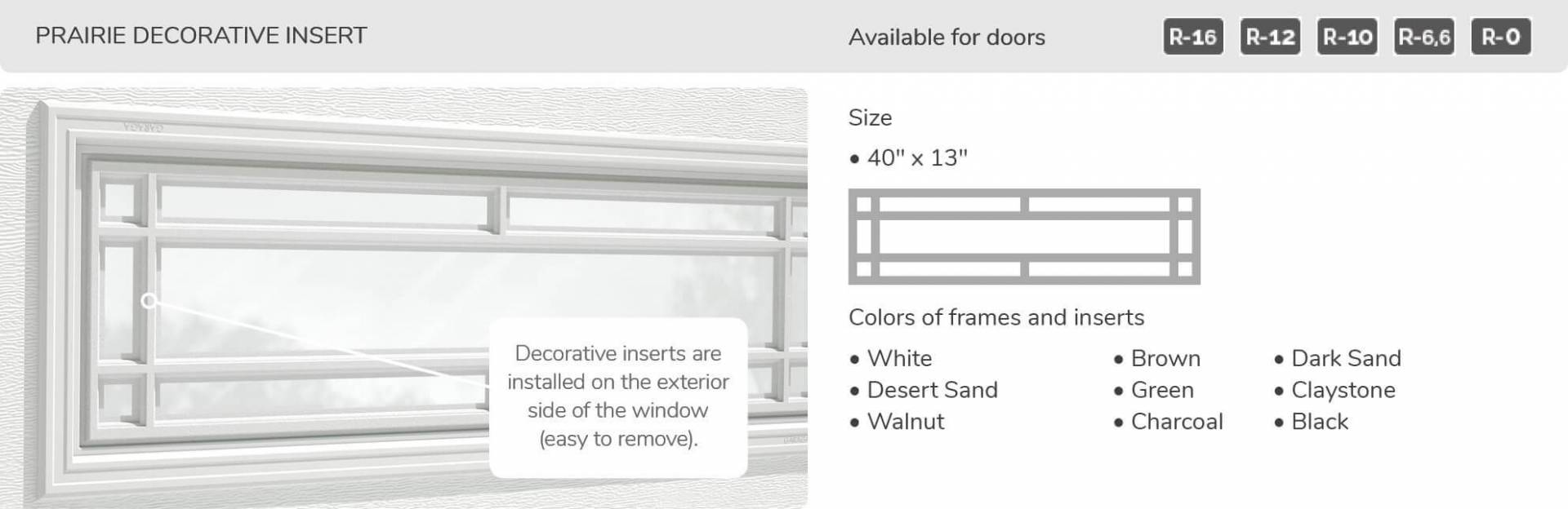 Prairie Decorative Insert, 40' x 13', available for doors: R-16, R-12, R-10, R-6.6, R-0
